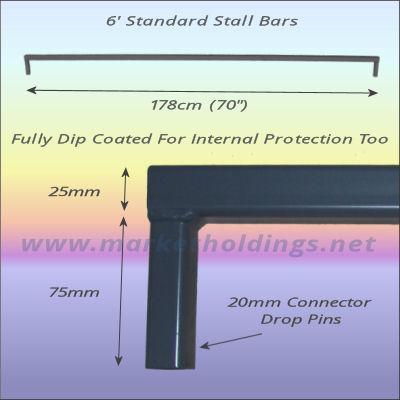 6/' Standard Market Stall Bars 1.8m Steel Bar For Stalls /& Display Stands 5pk